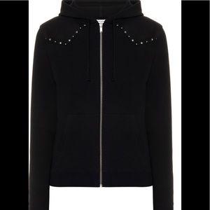 Saint Laurent Mens Zipped Hoodie With Studs Sz L